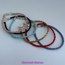 Silver Plated Lobster Clasp Faux Leather European Charm Bead Bracelet / Necklace
