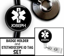 STAR OF LIFE PERSONALIZED STETHOSCOPE ID TAG & RETRACTABLE BADGE SET