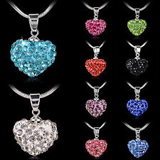 High Fashion Women Pendant Jewelry Crystal Heart Silver Plated Necklace+Chain