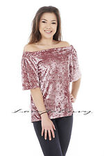Womens Ladies Off Shoulder Velour Party Top Ladies Short Sleeve Bardot Top 8-14.