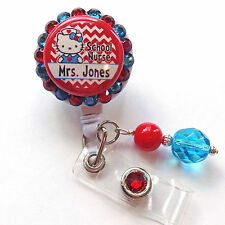 PERSONALIZED HELLO KITTY SCHOOL NURSE BLING RETRACTABLE ID BADGE HOLDER LANYARD