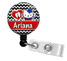 DENTAL HYGIENIST HELLO KITTY PERSONALIZED RETRACTABLE ID BADGE HOLDER LANYARD