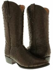 mens brown full ostrich quill exotic print collection western cowboy boots new