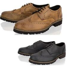 NEW MENS REAL LEATHER BROGUE OFFICE SMART FORMAL CASUAL LACE UP SHOES SIZE