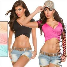 NEW SEXY LADIES CASUAL WRAP CROP TOPS XS S M hot GIRLS TOP cropped SHIRTS 6 8 10