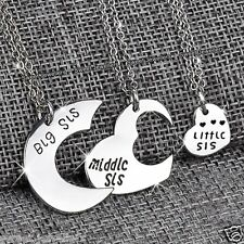 3 Matching Silver Heart Sisters Necklace Best Friends Forever Xmas Gifts For Her