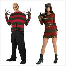 Womans Miss Freddy or Mens Krueger Halloween Nightmare Fancy Dress Costume