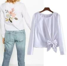 Womens Floral Embroidery Bow Long Sleeve Casual Blouse Shirt Top