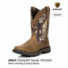 "ARIAT CONQUEST Men's 11"" H2O Pull-On Hunting Cowboy Boots #10016340"