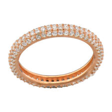 Rose Gold Plated Sterling Silver Three Rows Round Cubic Zirconia Wedding Ring