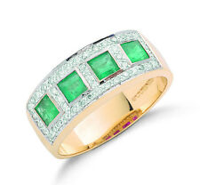 9k Yellow Gold Real Emerald Squares & Diamond Ring - British Made - Hallmarked