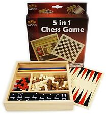 Homeware Deluxe 5-in-1 Wooden Travel Games Set Featuring Chess, Checkers,
