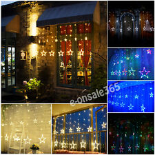 12 Twinkle Star LED String Fairy Light Curtain Christmas Window Showcase Wall UK