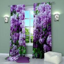"""Spring Present Floral Window Curtains Panel (Set of 2), Polyester, 84"""""""