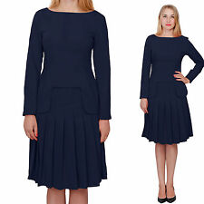 DARK BLUE MARYCRAFTS WOMENS CHURCH OFFICE BUSINESS SKIRT SUITS SUIT LONG SLEEVES