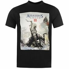 Official Assassins Creed 3 Game Over T-Shirt Mens Black Top Tee Shirt