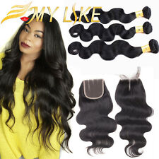 Brazilian 3 Bundles Body Wave With 4*4 Lace Closure 100% Virgin Human Hair Weave