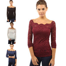 Fashion Womens Off Shoulder Sexy Lace Long Sleeve Slim Casual Shirt Top Blouse