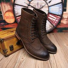 Mens retro oxford brogue pointy shoes wing tip carving lace up mid calf boots