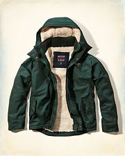 NWT Hollister-Abercrombie&Fitch Mens All-Weather Jacket Sherpa-Lined Green L