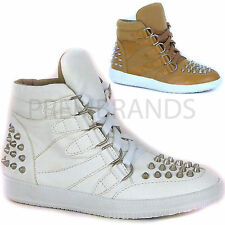 LADIES WOMENS FASHION LACE UP STUDDED HI TOP ANKLE TRAINERS BOOTS SHOES SIZE UK