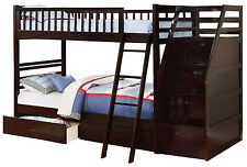 Espresso Twin over Twin Bunk Bed with Storage Drawers and Stairway Chest