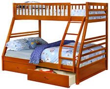 Oak Twin over Full Bunk Bed with Storage Drawers