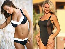 2 Ujena Suits- Black & White Calypso Underwire Bikini M205 & La Risque 1-PC W101