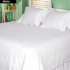White Striped Egyptian Cotton 1000TC All Bedding Collection UK's All Size