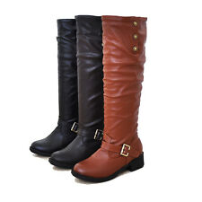 New Women's Fashion Low Flat Heel Mid-Calf Knee High Riding Boot Shoes Size 5-8