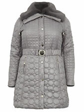 Koko Womens Plus Size Detachable Fur Collar Quilted Parka Jacket Grey