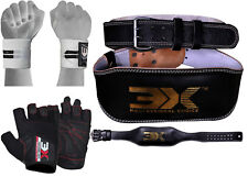 """3X Sports Weight Lifting Gym Belt Gym Gloves Strap Back Power Fitness Workout 4"""""""
