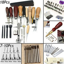Professional Leather Craft Leatherworking Kit Manual Sewing Punch Carving Groove