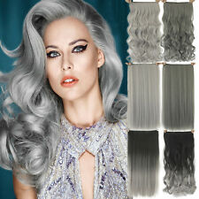 Remy Hair Long and Wavy Synthetic Gray Hair Extension Clip in Hair Extensions