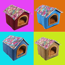 Pet Dog Cat Bed House Kennel Soft Strawberry Doggy Warm Cotton Nesting Bed S L