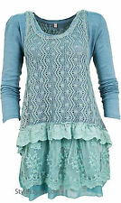 NWT  Pretty Angel Clothing Ameline Two Piece Sweater In Aqua 18715