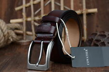 Fashio Genuine Cow Leather Men's Belt Metal Pin Buckle Business Casual Waistband
