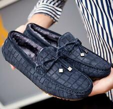 Mens winter fur lined warm flat casual shoes driving moccasin gommino loafer