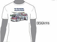 KOOLART VIRO FIRE TRUCK PERSONALISED NAME T-SHIRT GIFT PRESENT CAR MOTOR 916