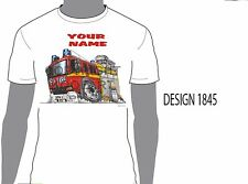 KOOLART LONDON FIRE TRUCK PERSONALISED NAME T-SHIRT GIFT PRESENT CAR MOTOR 1845