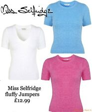 MISS SELFRIDGE Mohair Fluffy Crop Jumper Knitted Retro Vintage Sweater Top £30
