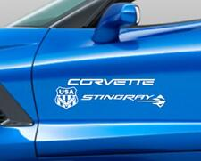 Fits CORVETTE STINGRAY FLAG C7 Emblem Decal Sticker Chevrolet also Carbon Fiber