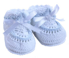Petit Ami Booties White and Blue Crocheted Baby Boy NWT 0/3m 3/6m