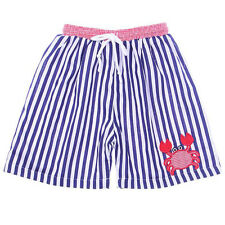 Boys Swim Trunks Appliqued Crab Navy Striped Boys Swim Trunks Babeeni 6m-5T NWT
