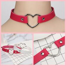 Goth Wristband Jewelry Punk Genuine Leather Collar Choker Heart Shape Necklace