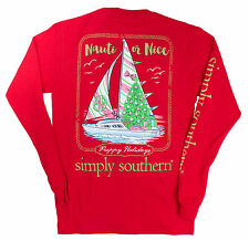 Simply Southern Nauti or Nice Sailboat Youth Long Sleeve Christmas T-Shirt Red
