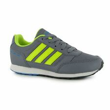 Adidas Neo Switch Nylon Trainers Junior Boys Grey/Yellow Sports Shoes Sneakers