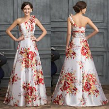 One Shoulder Floral Satin Ball Gown Evening Formal Prom Party Dress 8 Size SALE