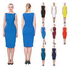 WOMEN'S SIMPLE SLEEVELESS WORK DRESS CLASSY OFFICE BUSINESS PENCIL MIDI DRESSES