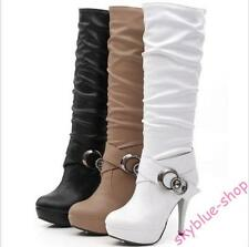 Womens Ruched PU Leather Buckle Thigh Boots Stiletto High Heel Knee High boots